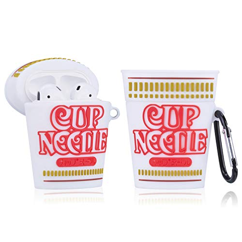 Gudcos Case for Airpods, Funny Cute Food Cartoon Silicone Design, Fun Character for Teens Girls Air pods Charging Case Soft Skin Carabiner Protective Cover for Airpod 2/1 [Noodles Cup]