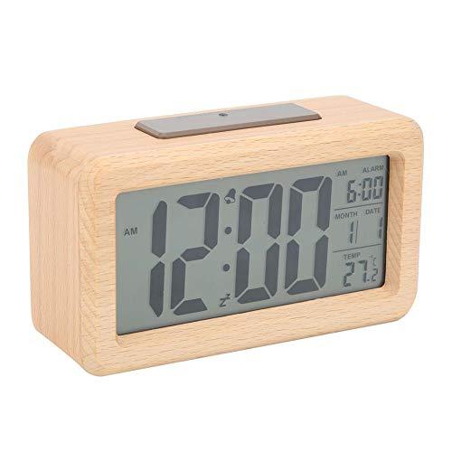 01 Reloj electrónico, Despertador Digital, Carcasa de Madera Pura con Pantalla LCD Duradera para Ministerio del Interior(Solid Wood Color)