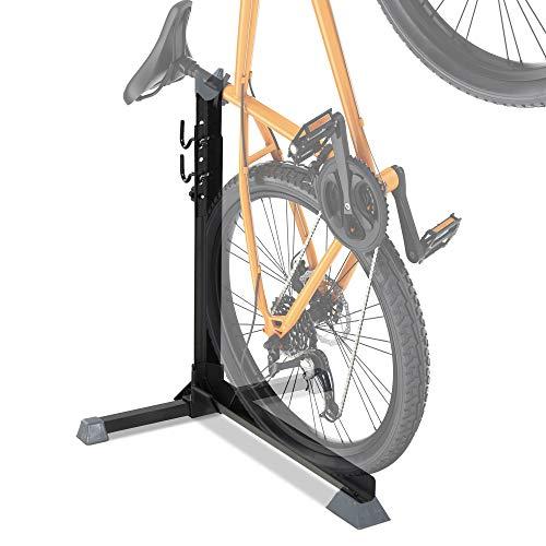 HOMCOM Fahrradständer, Universal Fahrradparker, Montageständer mit 2 Haken, 6 Stufen höhenverstellbar, Metall, Schwarz, 66 x 56 x 63-73,5 cm