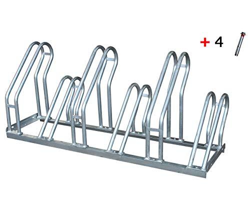 Aparcabicicletas soporte para aparca Bicicleta suelo Aparcamiento de bicicletas garaje Parking de 6 Bicis acero galvanizado (1- Aparcabicicletas + T)