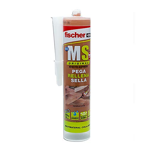 fischer   polímero silicona terracota MS PLUS. Sellador adhesivo antimoho para juntas bañera, ventanas, grietas. Pegamento fuerte. (290ml)