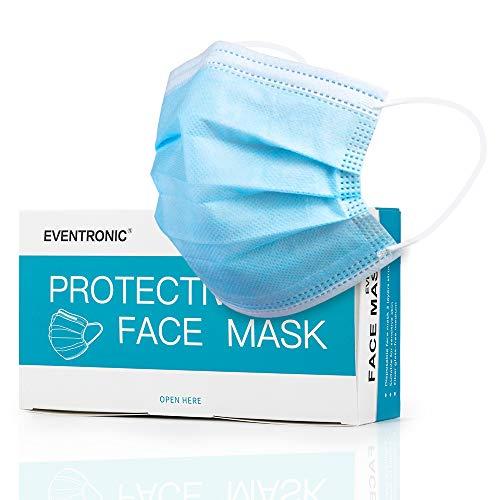 Eventronic Gesichtsmaske 50 Stück 3-lagige Einwegmaske für zu Hause, im Büro, in der Schule, im Freien Atmungsaktiv und komfortabel Elastische Ohrschlaufen Filter Gesichtsschutz
