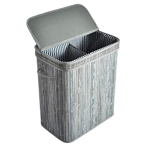 ALINK - Cesto para la ropa sucia de bambú con 2 secciones XXL, cesta de almacenaje plegable, cestas para la ropa sucia con tapa, asas y forro extraíble rectangular – gris