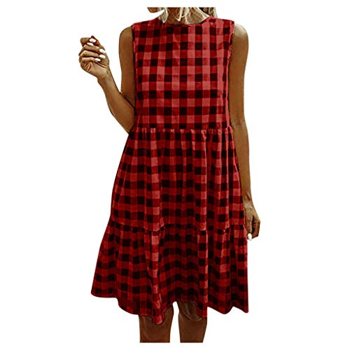 Best Deals! kaifongfu Women Sleeveless Plaid Dresses Summer Casual Beach Sundress A Line Mini Dress(...