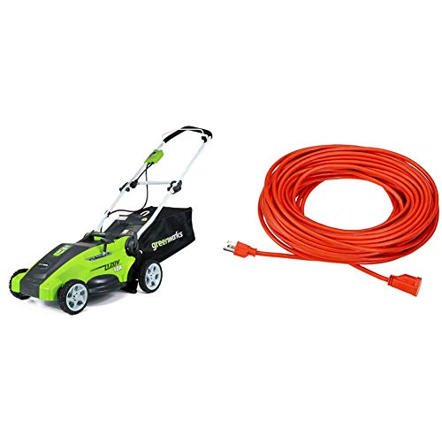 Greenworks 10 Amp 16 inch Corded Electric Lawn Mower 25142 & Amazon Basics 16/3 Vinyl Outdoor Extension Cord - Orange, 100 Foot