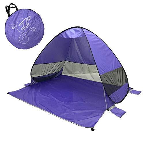 Lightahead Automatic Pop Up UV Resistant (UV50+) Sun Shade Portable Camping Tent Picnicing Fishing Hiking Canopy Easy Setup Outdoor Cabana Tents with Carry Bag (Small 2P, Purple) (LA-HY-101P-2P)