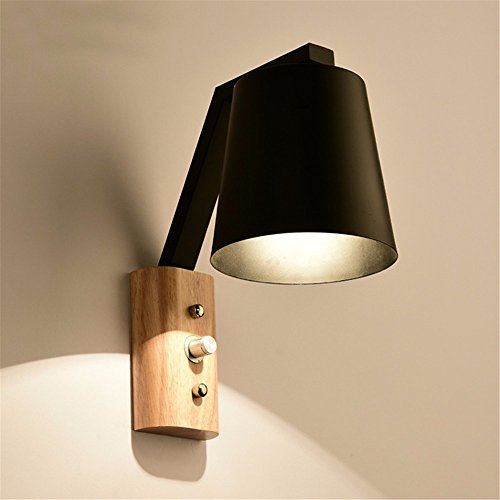 YU-K Chambre à coucher moderne minimaliste lit balcon en bois passerelles appliques en verre lampe de tête unique lampe murale, noir