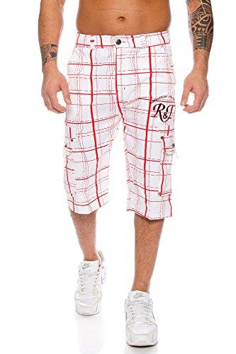 Raff&Taff Herren Bermuda Shorts Freizeithose Karomuster Cargohose bis 4XL (L, Weiß/Rot)