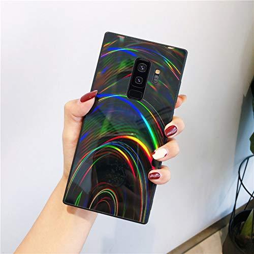 Herbests Kompatibel mit Samsung Galaxy S9 Plus Hülle Glitzer Glänzend Kristall Aurora Bunte Weich Silikon Handyhülle Ultra dünn Schutzhülle TPU Bumper Handytasche Crystal Case Cover,Schwarz