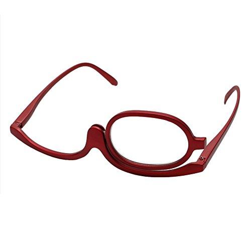 Logres Lunettes pliantes à verres effet loupe, monocle rotatif, pour application de maquillage ou lecture, rouge