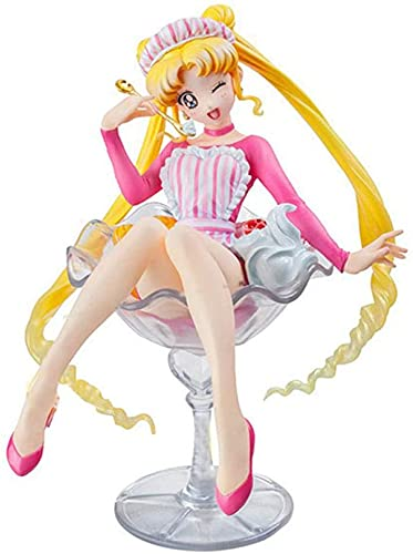 Hobbys van hand-run-spelers Sailor Moon 20th Anniversary Moon Hare Fruit Buffy Ice Cream Sitting Figuur 12cm-Eyes Closed Collectible Gift Scale in Box Model (Color : Eyes Closed)