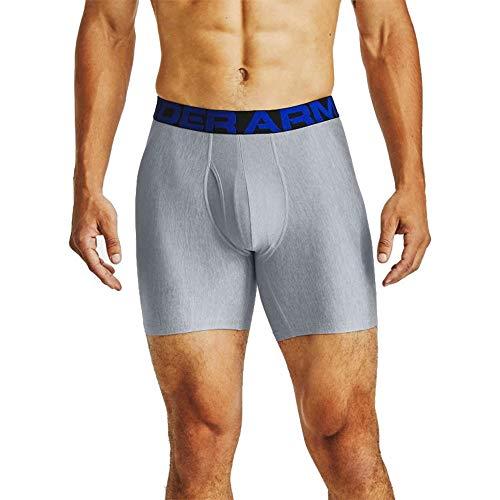 Under Armour Tech 6in 2 Pack, schnelltrocknende Boxershorts, komfortable Unterwäsche mit enganliegendem Schnitt im 2er-Pack Herren, Academy / Mod Gray Light Heather , L