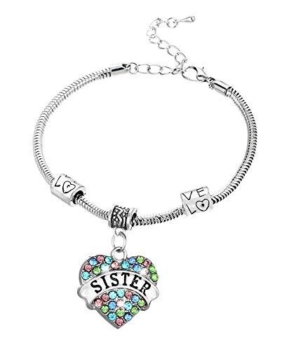 Vriendschap - zus - armband - familie - motiverend - hart - hanger - kleurrijk - man - vrouw - unisex - zilveren kleur - sieraden best friends