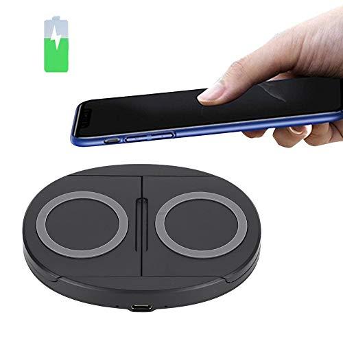 Trådlös laddare 5W / 10W Trådlös dubbelladdare Mobiltelefon Snabb laddningsbas med datakabel Kompatibel med iPhone SE 2020/11/11 Pro / 11 Pro Max/XR/XS/X / 8, Samsung (svart-10w)
