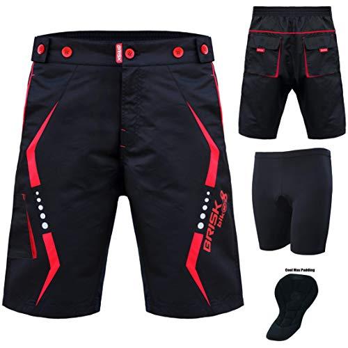 Brisk MTB-Shorts, Coolamax, gepolstert, abnehmbares Innenfutter, Free Style, Erwachsenengröße, Schwarz/Rot, Größe S