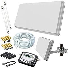 Selfsat H30D2+ platt antenn Twin + 20m kabel + fönsterhållare + SAT-uppstickare + 2 fönsterinträde + 8 F-pluggar + 4 väderskyddshylsor (Full HD 4K UHD Sat-system för 2 deltagare) netshop 25 Set