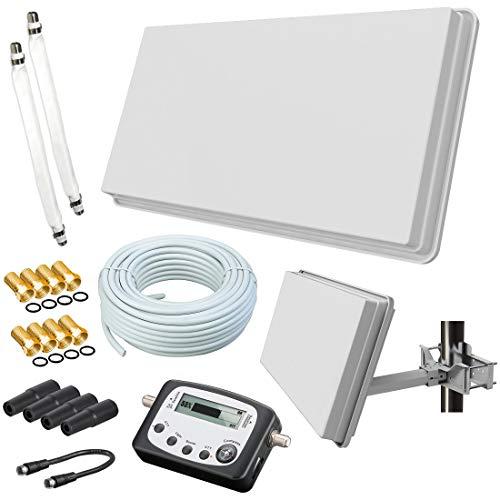 Selfsat H30D2+ Flachantenne Twin + 20m Kabel + Fensterhalterung + SAT-Finder + 2 Fensterdurchführung + 8 F-Stecker + 4 Wetterschutztüllen (Full HD 4K UHD Sat Anlage für 2 Teilnehmer) netshop 25 Set