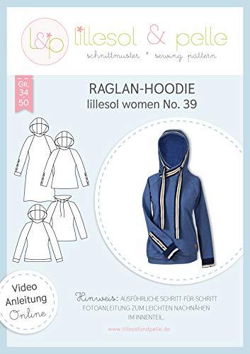 lillesol & pelle Schnittmuster lillesol Women No.39 Raglan-Hoodie in Größe 34-50 zum Nähen mit Foto-Anleitung und Video