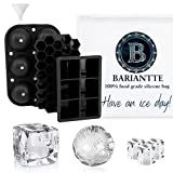Bariantte Set of 3 Ice Molds Whiskey Ice Cube Trays Ball Silicone Mold Mini Cocktail Ice Molds with Ziplock Ice Bag- Big Ice Cube Trays Silicone + Ball Ice Cube Mold + Hexagon Ice Molds for Cocktails