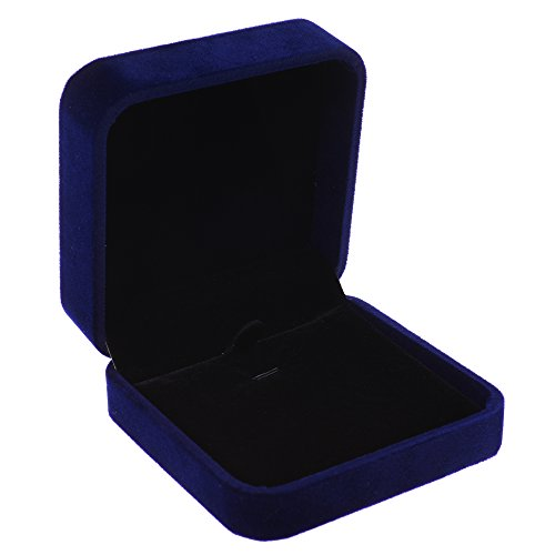 COSMOS Velvet Necklace Pendant Gift Box Jewelry Box (Royal Deep Blue Color)