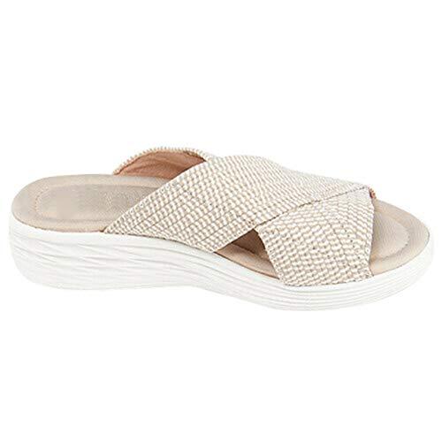 Taloit Zapatillas elásticas de punto con correas cruzadas para mujer, ligeras y cómodas, con tacones de pendiente, antideslizantes para la playa.