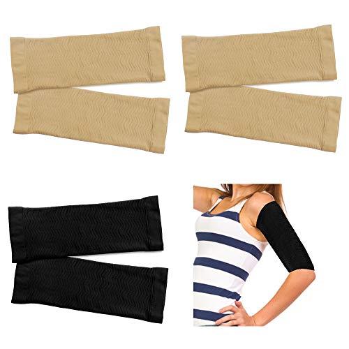 3 Paare Elastisch Compression Ärmel Arm Shaper Damen Sport Armstulpen Atmungsaktiv Armschutz Fettverbrennung Armlinge Kompressionsbandage Arm für Damen Mädchen Gewichtsverlust (Hautfarbe und Schwarz)
