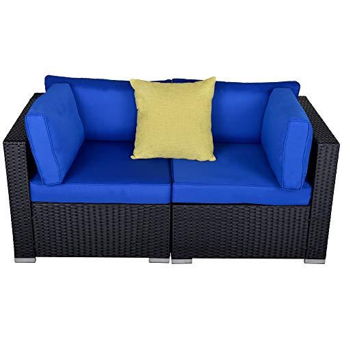 Patio Loveseats 2 Piece Outdoor All Weather Sectional Sofa Rattan Wicker Corner Sofa, Black Wicker Navy Blue Cushions