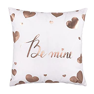 4TH Emotion Rose Gold Be Mine Love Heart Throw Pillow Case Cushion Cover Cotton Polyester 18 x 18 Inch Valentine's Day Home Decoration