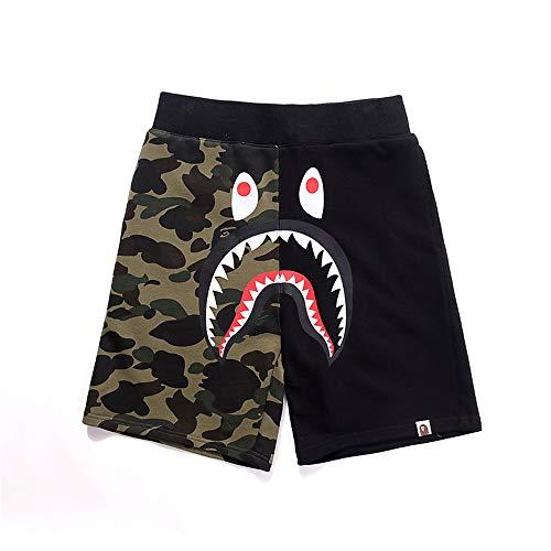 HHNN Animal Head Shark Shorts 100% Baumwolle Fünf-Punkt-Hosen Im Europäischen Und Amerikanischen Stil Street Trend Casual Graffiti Neutrale Shorts