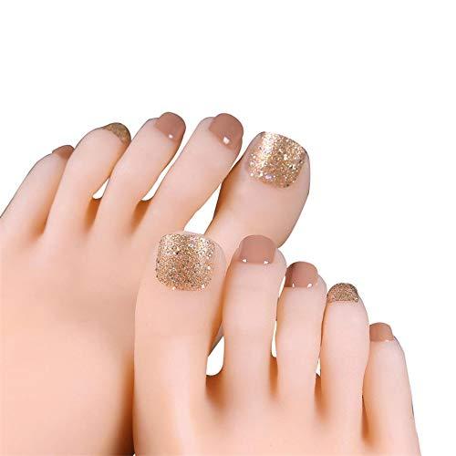 24Pcs Short Fake Toenails for Women Glitter False Toeails Sparkle Glue On Toe Nails