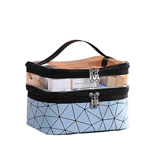 Vians Neceser de maquillaje de doble capa, impermeable, portátil, organizador de viaje, azul, 17*23*16cm,