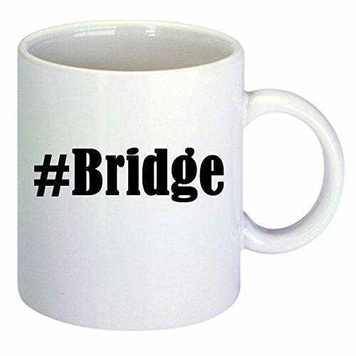 Koffiemok #Bridge Hashtag ruit keramiek hoogte 9,5 cm ? 8 cm in wit