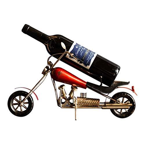 Botellero Vino Titular de almacenamiento de vino de la motocicleta gabinete del vino Decoración botella de vino del estante del vino del hierro labrado Bar Inicio del vino RackCountertop Gabinete Bode