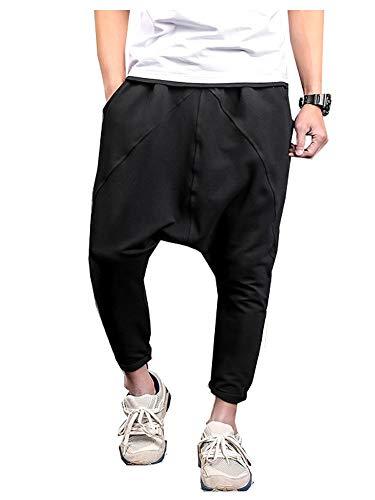 LifeShe Men Hip Hop Baggy Harem Low Crotch Pants Joggers Sweatpants (Medium, Black)