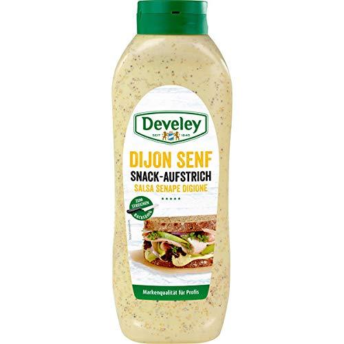 Develey Dijon Senf Snack Aufstrich Kopfstandflasche 1x875ml Flasche