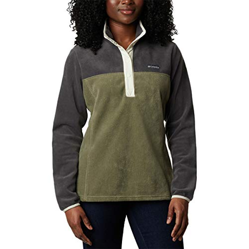 Columbia Women's Benton Springs 1/2 Snap Pullover, Shark/Stone Green, Small