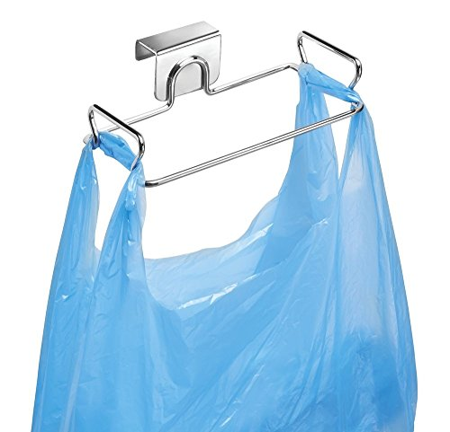 mDesign Porta sacchetti spazzatura – Comoda pattumiera sottolavello – Porta sacchetti immondizia in acciaio con finitura cromata – Facile da montare – argento