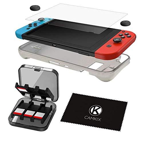CAMKIX Juego Nintendo Switch 5 en 1: Funda de Silicona TPU, Protector de Pantalla Anti rasguños, Funda de Almacenamiento para 24 Tarjetas de Juego, Pinzas de sujeción para el Pulgar, paño de Limpieza