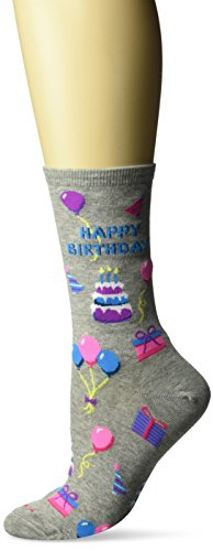 Hot Sox Women's Originals Classics Novelty Crew Socks, Happy Birthday (Sweatshirt Grey Heather), Shoe Size: 4-10