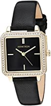 Armitron Women's 75/5597BKGPBK Genuine Crystal Accented Gold-Tone and Black Leather Strap Watch