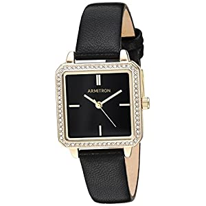 Armitron Women's 75/5597BKGPBK Swarovski Crystal Accented Gold-Tone and Black Leather Strap Watch