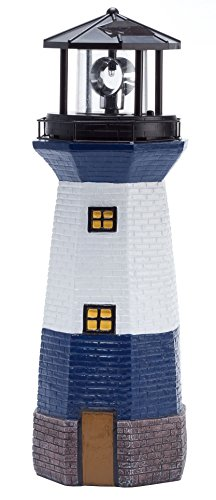 Miles Kimball Solar Lighthouse by Maple Lane CreationsTM- Rotating LED Light Outdoor Décor - Lawn and Garden Resin Lighthouse