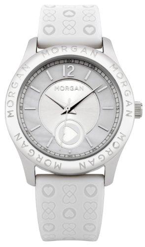 Morgan M1132W - Reloj analógico de Cuarzo para Mujer con Correa de Silicona, Color Blanco