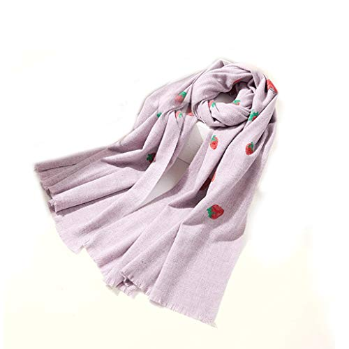 NYKK Shawl Fashion Embroidery Scarf Female Winter Thick Warm Autumn and Winter Cute Girl Long Shawl Blanket Scarf Women's Fashion Scarves (Color : Purple)