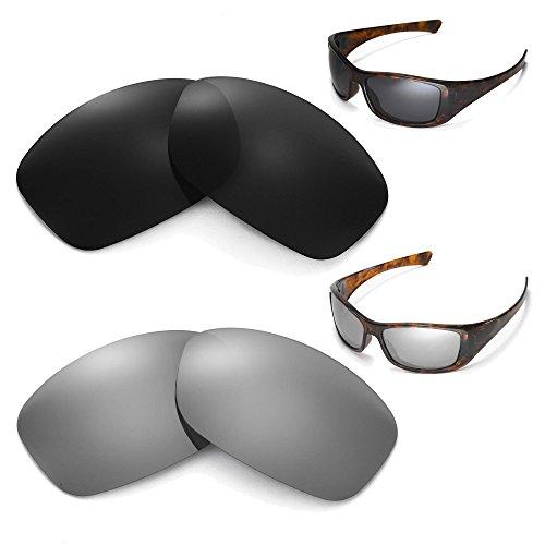 Walleva gepolariseerd zwart + titanium lenzen voor Oakley Hijinx