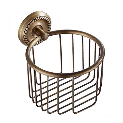 WANDOM Porta Carta igienica in Ottone Bagno in Bronzo a Parete Doccia Sapone Shampoo Deposito WC Cesto di Carta Scatola Antica per Tessuti per Kit-Bronzo