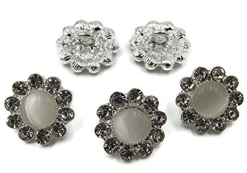 SiAura Material ® - 5 botones para vaqueros bañados en plata con brillantes y ojo de gato, piedras preciosas, flores, diámetro aprox. 17 mm, tamaño del agujero 2,3 mm