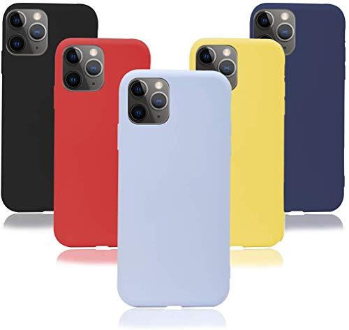 KZIOACSH 5×Cover iPhone 11 PRO 5.8'',Morbido Silicone Sottile Morbido TPU Protettivo Custodia iPhone 11 PRO 5.8'' [Rosso + Giallo + Nero + Viola + Blu Scuro]