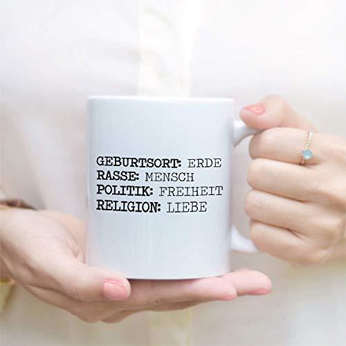 Tachinedas Kreativshop Tasse mit Spruch Steckbrief Mensch Religion Liebe Kaffeetasse