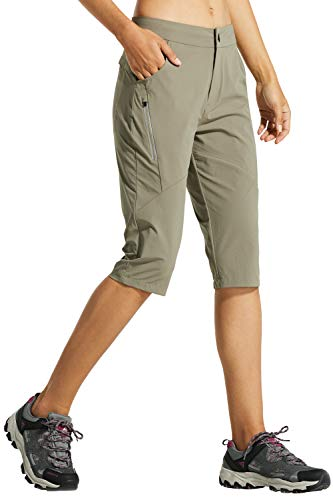 Libin Women's Quick Dry Hiking Shorts Lightweight Active Shorts, UPF 50, Water Resistant, Silver Sage M